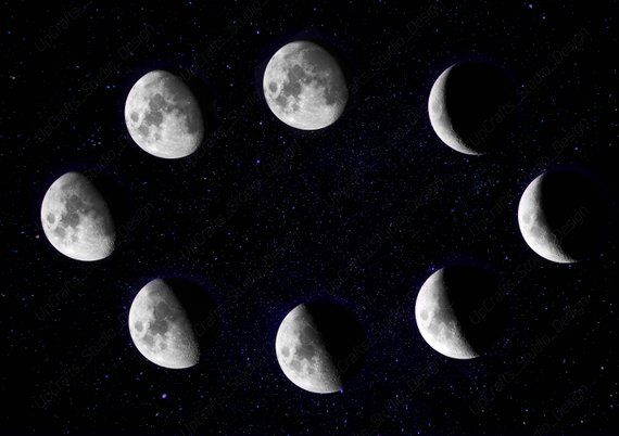 graphic relating to Printable Moon Phases titled Moon Stages Print - blue moon stages, la luna levels