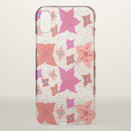 Bold Floral Pattern Clear iPhone x Case - patterns pattern special unique design gift idea diy