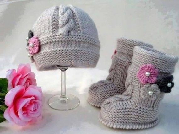 0e484870cc47 DIY Cable Knit Baby Hat and Booties Patterns