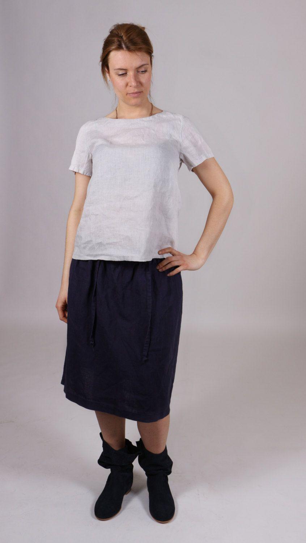 LINEN WOMEN SKIRT. Simple linen skirt. Navy linen skirt. by Maliposhaclothes on Etsy