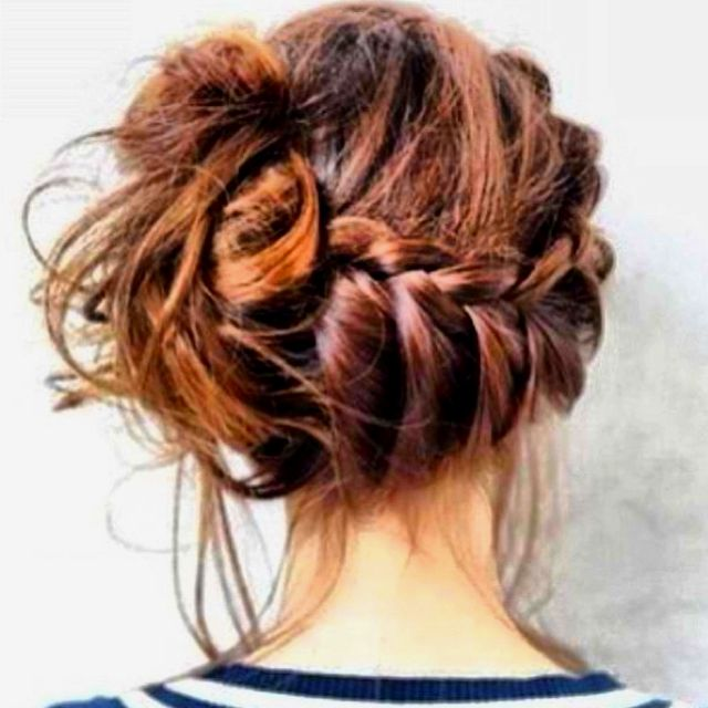 French braid bun. I can't style my hair and it's stupidly fine although long, but if I could and it was thicker I'd do this all the time!