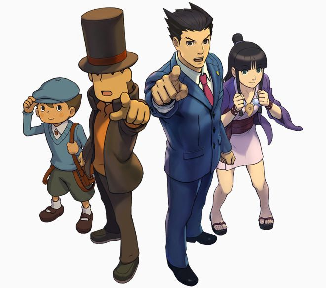 Professor Layton and Phoenix Wright teaming up