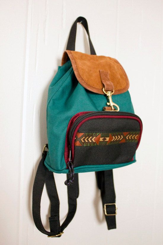 d6861e76d4 Vintage Grunge Revival Hunter Green Mini Backpack- 1990 s