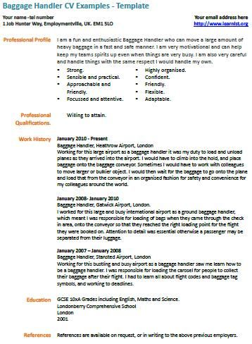 baggage handler cv example | Learnist.Org, | Cv examples ...