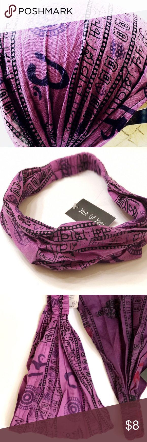 NWT - Boho Yoga Headband - 100% Cotton My Purple - Yoga Headband is 100% cotton made in Nepal, in bright multicolored stripes or patterns.  It gathers for a narrow slice of color or spreads to cover the whole head.  The elastic back keeps it hanging on, even when extremely active.  Popular among those ready to release their inner hippy.    Worn by men and women alike. I've even seen a baby wear one to protect it from the sun.   Great impromptu gift. Bundle them to have on hand for a quick pick m #yogaheadband