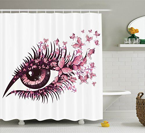 Butterflies Decoration Shower Curtain Set By Ambesonne Female Eye