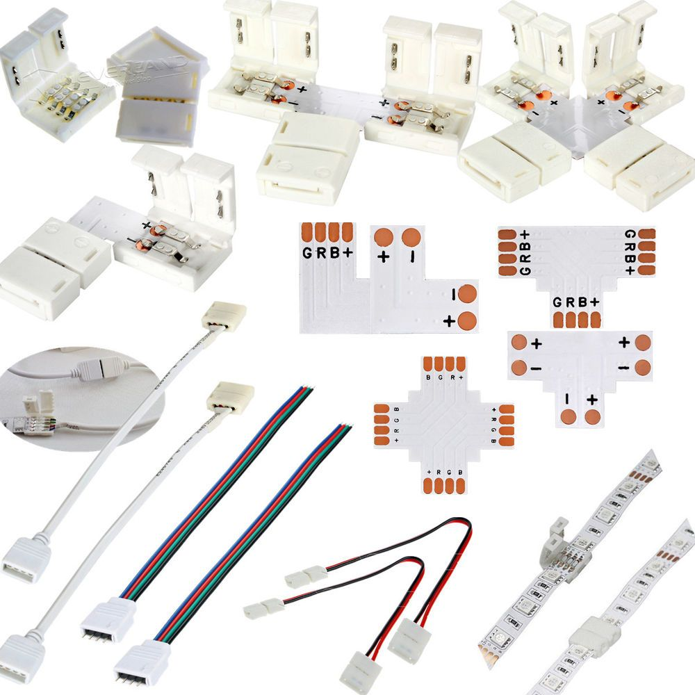 LED Strip Light Connector Adapter Cable Clip Solderless
