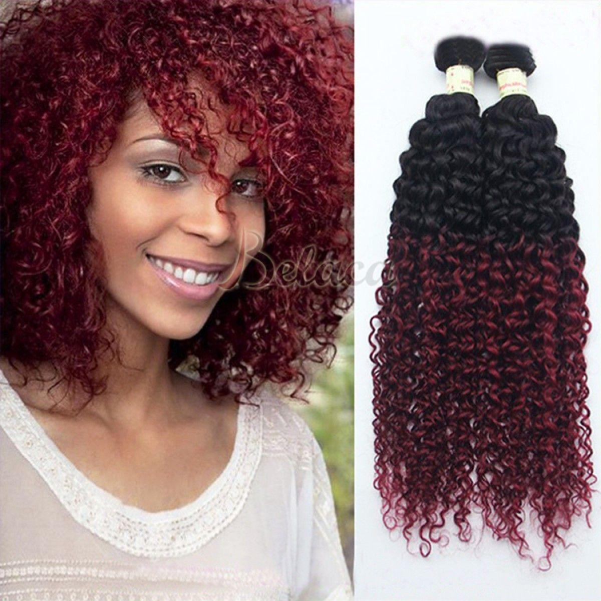 3 Bundles Burgundy Colored Weave Curly Brazilian Ombre Hair Bundles