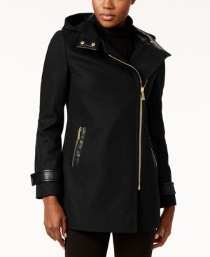 Michael Michael Kors Faux-Leather-Trim Asymmetrical Coat - Black XXS