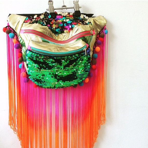 BEYONCE Leather tassel pompom bumbag fannypack. metal ykk zips. Bananas sequins carnival burning man extravaganza!