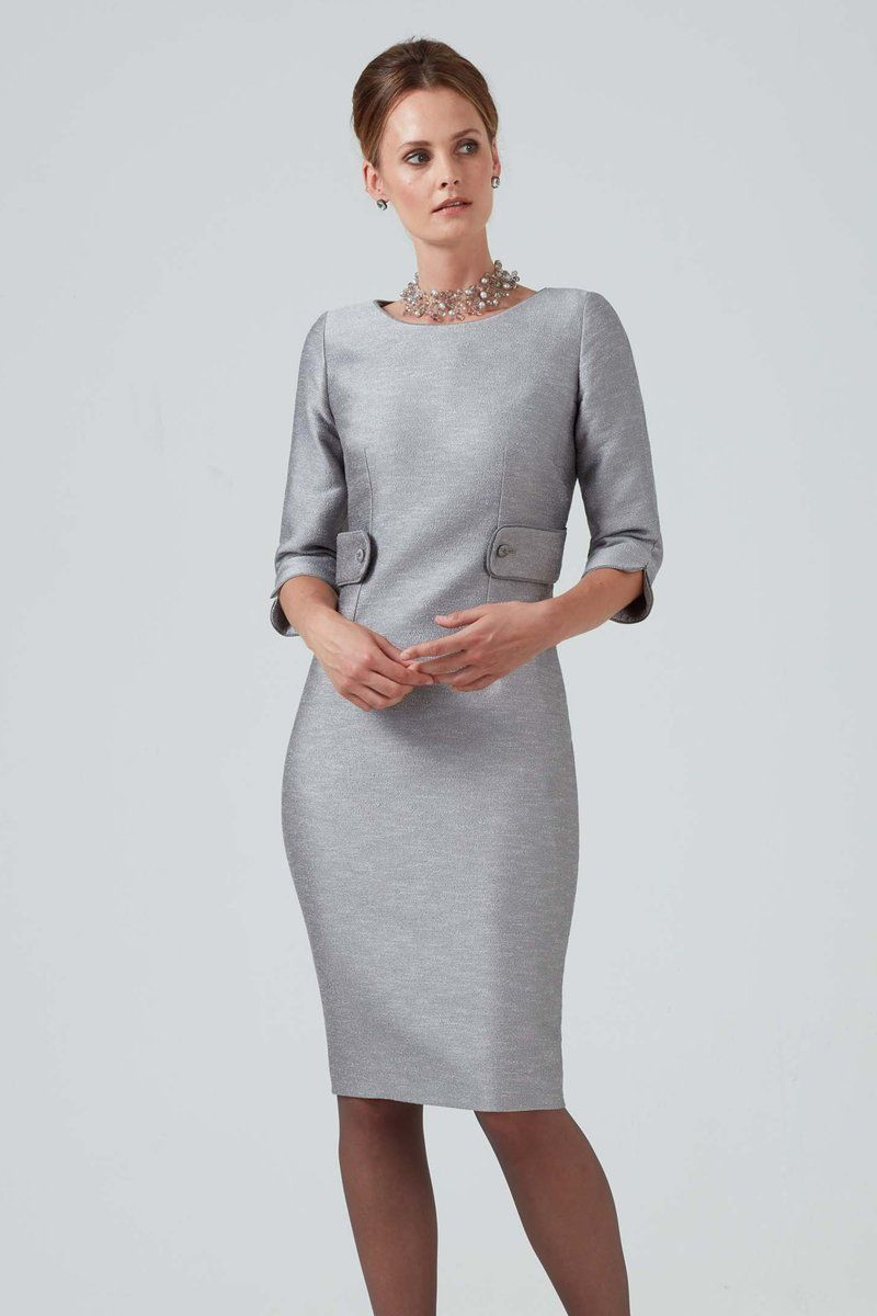 Graphite grey dress with 3/4 sleeves Freya Dresses to