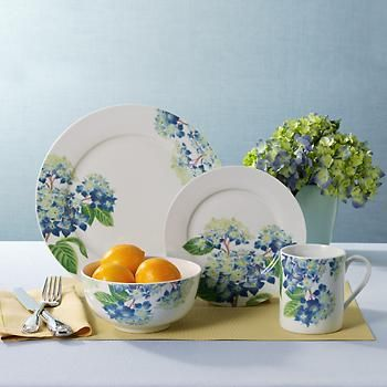 Ross-Simons - Service for 4 \ H&ton Hydrangea Blue\  Dinnerware by Royal Worcester - & Ross-Simons - Royal Worcester \