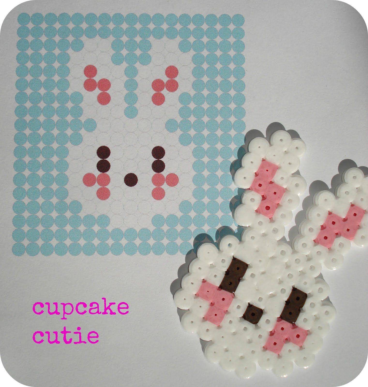 Cupcake Cutie Free Hama Bead Bunny Pattern Hama Beads Abalorios Hama Plantillas Hama Beads