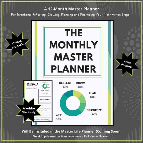 Monthly Master Planner Planning Worksheet Monthly Plan Goal  Get