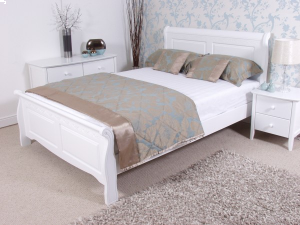 Caprice White Wooden Bed Frame Painted Wood Wooden