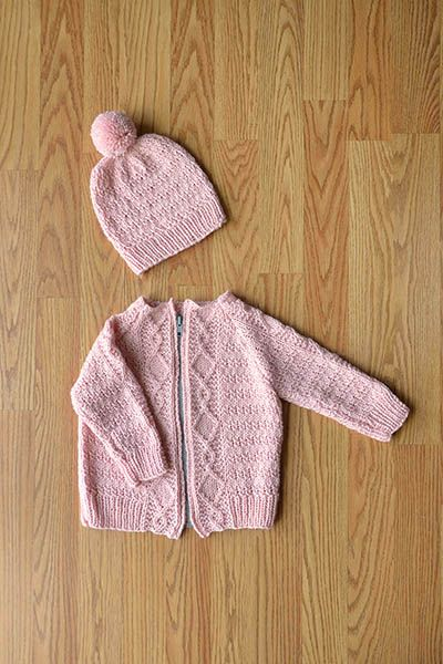 Cozy Kids Cardigan and Hat Set Free Knitting Pattern