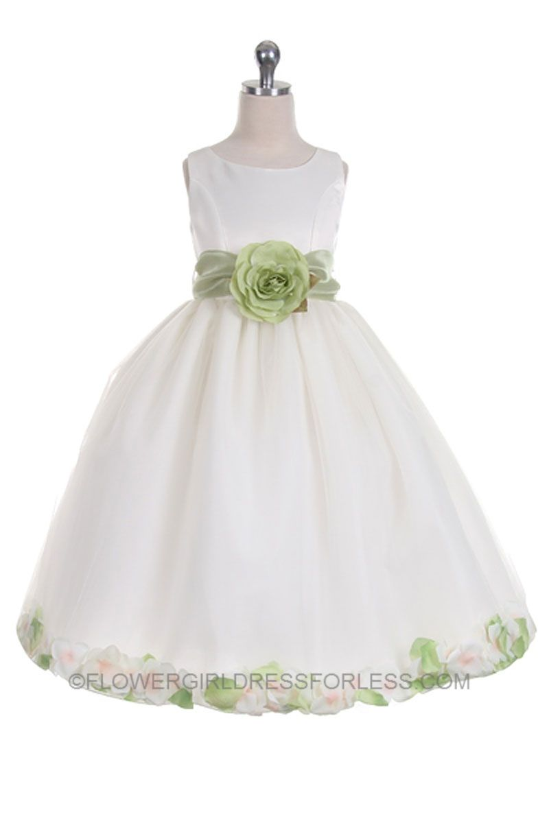 76780aed1f7 Flower Girl Dress Style 152-Choice of White or Ivory Dress with Sage Sash  and Petals  49.99