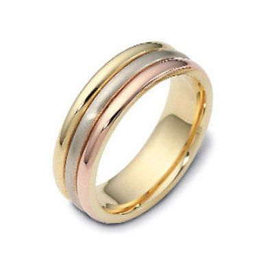 Mens 14k Three Tri Tone Gold Wedding Rings Man Band 6mm