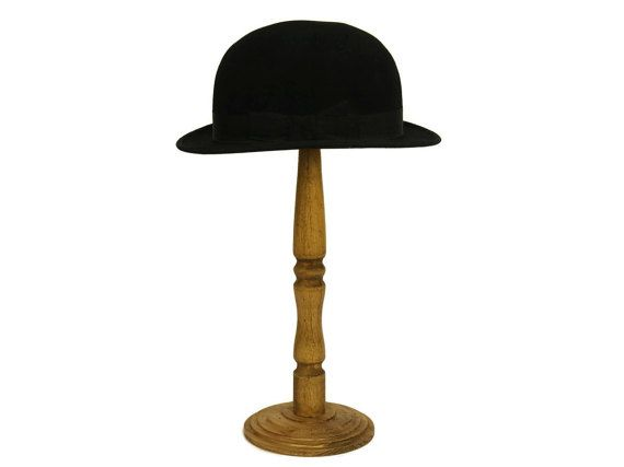 Antique Black Bowler Hat With Wooden Hat Display Stand Etsy Black Bowler Hat Luxury Hats Hat Display