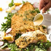 Photo of Baked Parmesan Crusted Salmon with Lemon Cream Sauce