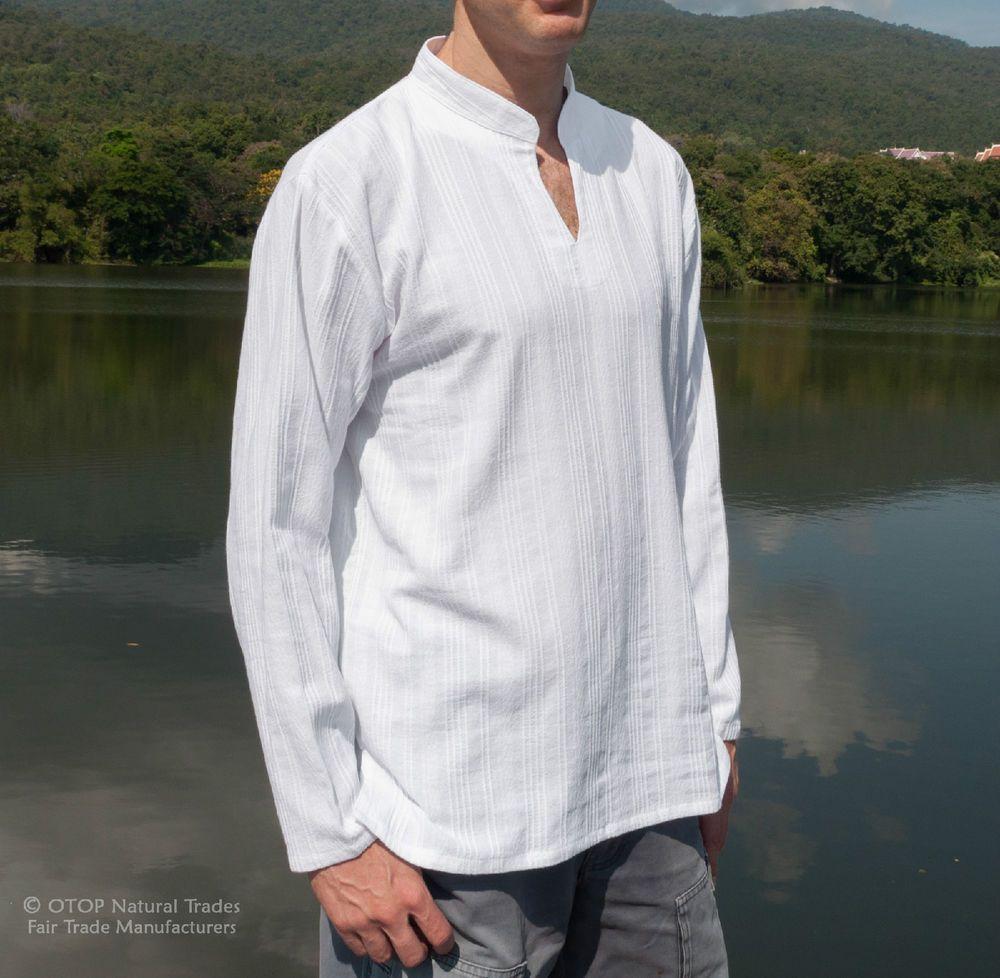 Banded Collar Kurta Shirts Long Sleeve Whites Striped 100