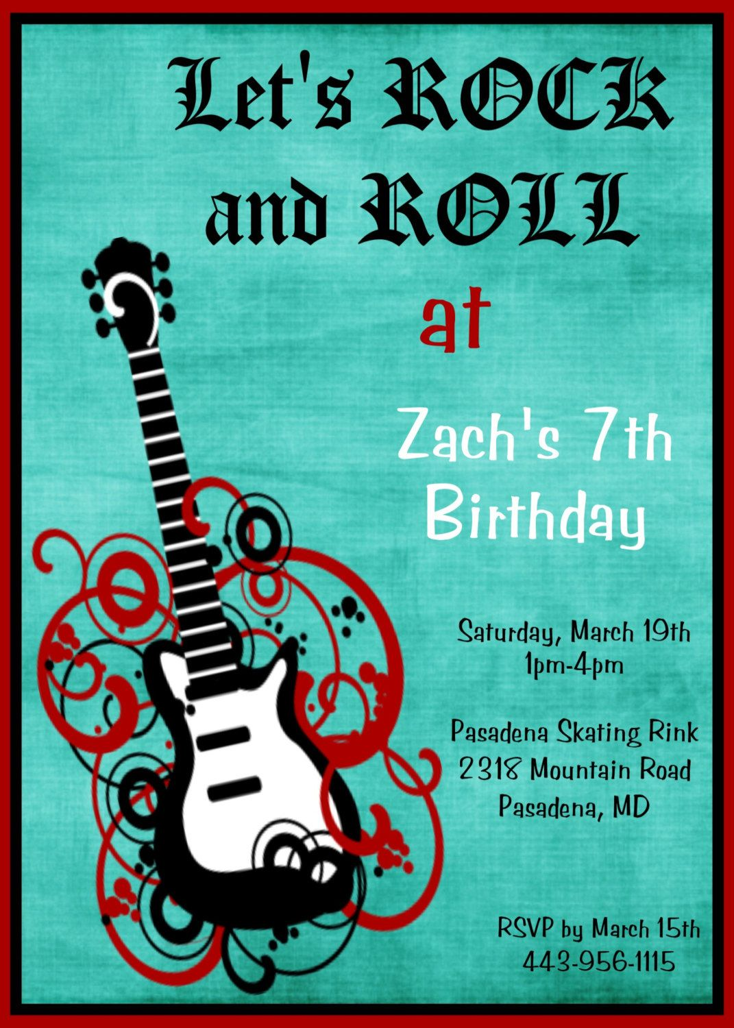 Boys Rock Star Guitar Birthday Invitation Rock n Roll Birthday ...