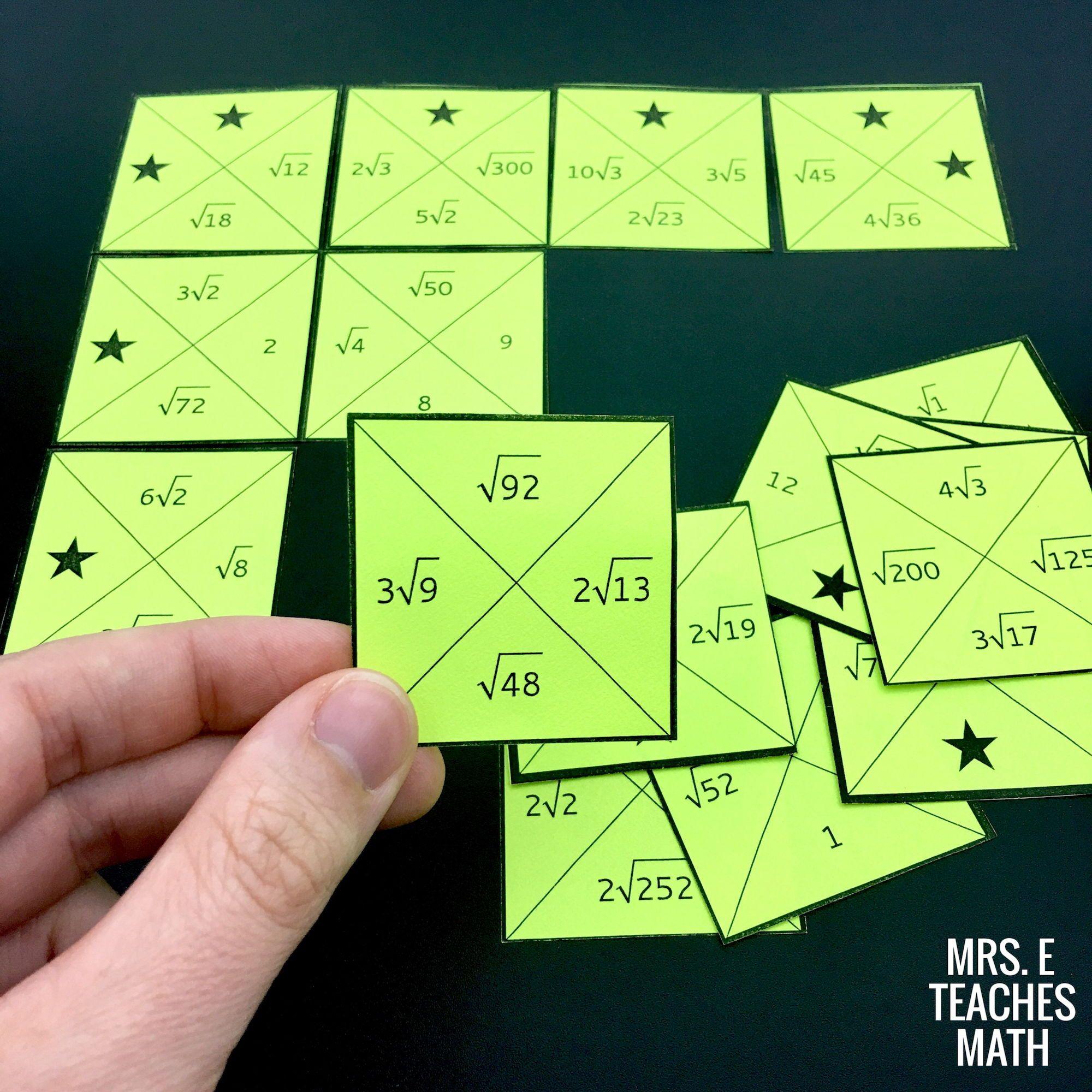 Simplifying Radicals Square Puzzle