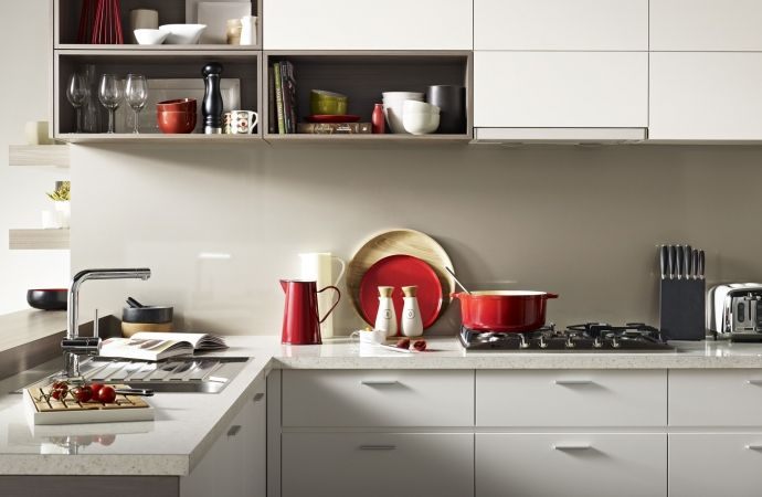 Formica White Kashmir Ar Benchtop Melteca Snowdrift Cabinetry And Cinnamon Ash Shelving
