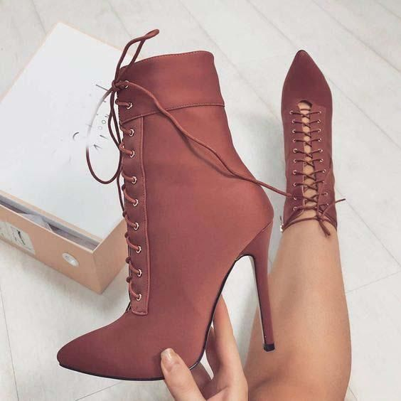 8c998f32816 Pointed Toe Lace Up Side Zipper Short Boots | Party Shoes in 2019 ...