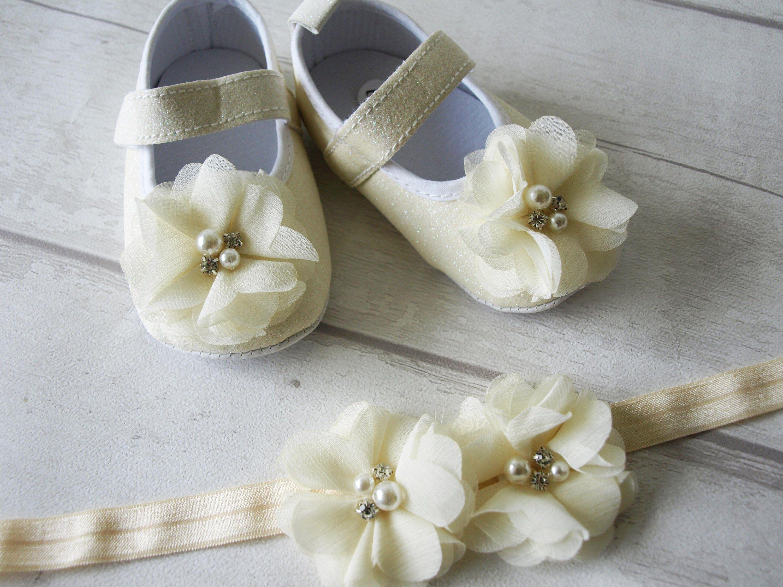 Baby Girls Reborn White Pink Satin Christening Wedding Pram Shoes Headband Set