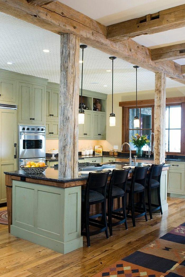 1 poutre en bois poutre chene pour la cuisine moderne avec - Poutre en chene ...