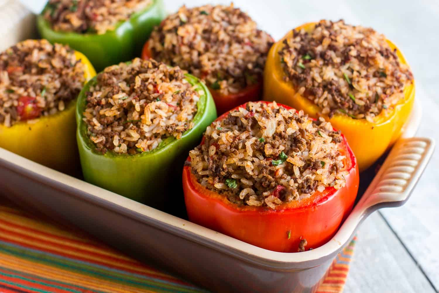 Stuffed Green Bell Pepper Recipe With Ground Beef And Rice Red Yellow And Orange Peppers Work Great As We Stuffed Peppers Peppers Recipes Bell Pepper Recipes