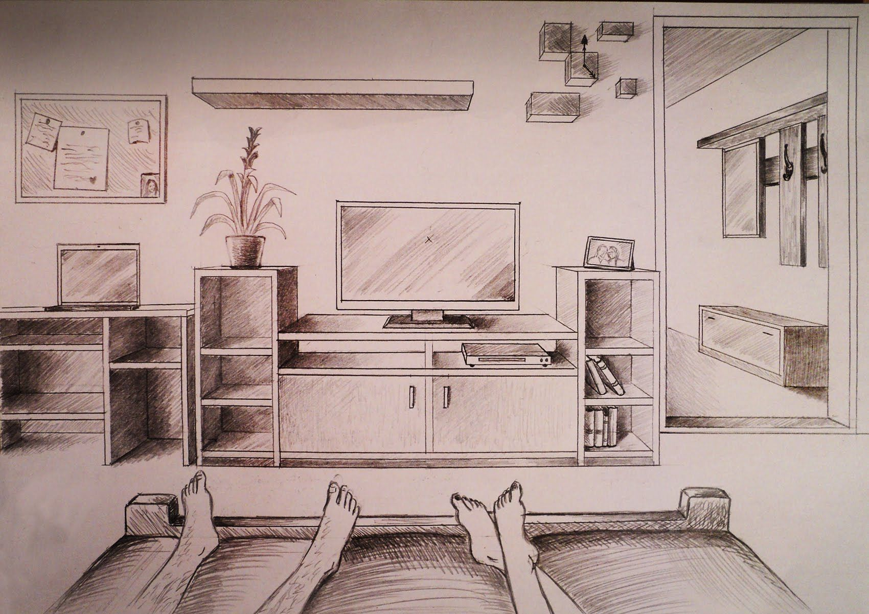 How To Draw One Point Perspective Bedroom With Furniture