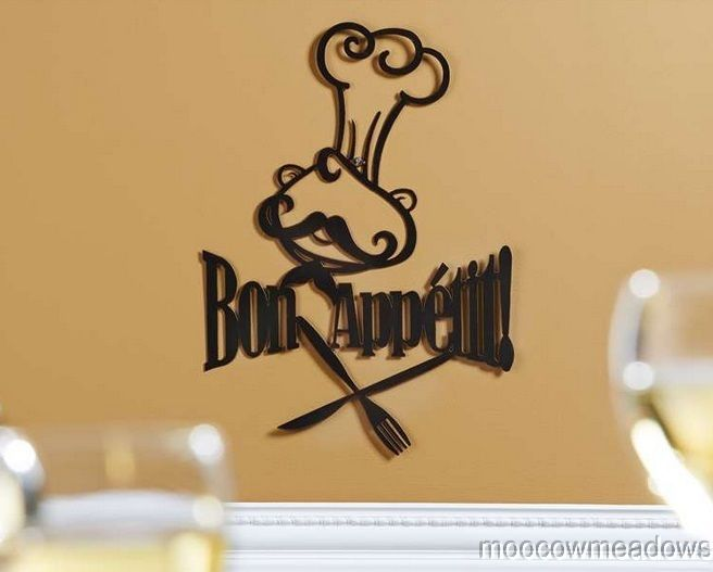 New Metal Wall Art Bon Appetit French Fat Chef Kitchen Plaque Sign ...