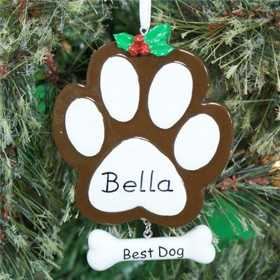 Personalized Paw Print #Dog #Ornament Personalized Christmas