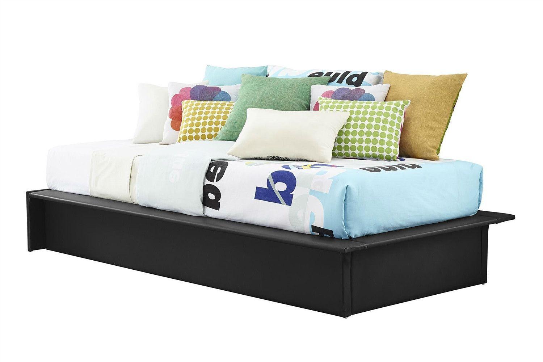 Black faux leather upholstered platform bed frame with wood slats in