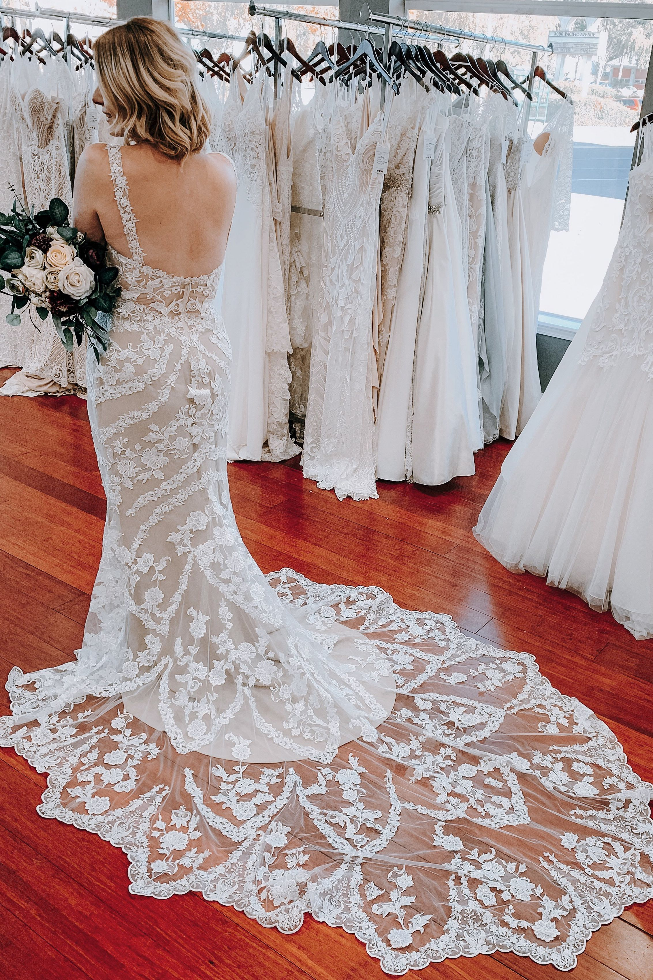 Bohemian Lace Wedding Dress with Long Train from Beloved