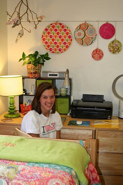 Dorm room inspiration - love the embroidery hoop decor and branch hanging from the ceiling.