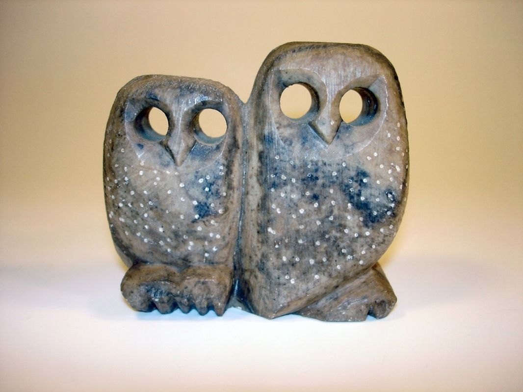 Vintage quot hand carved stone owl pair figurine ussr