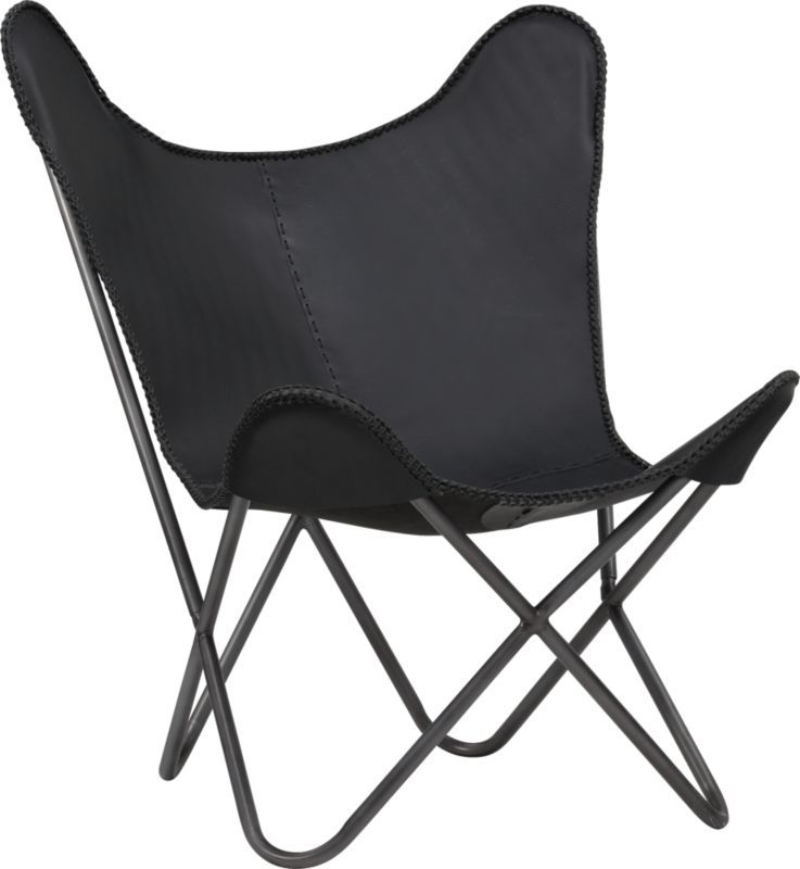1938 Black Leather Butterfly Chair | CB2 $399