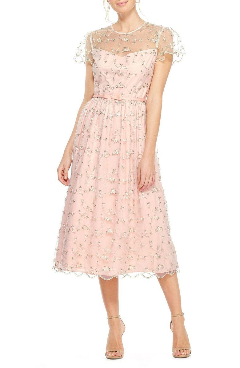 Cream colored vintage wedding dresses  Penelope Baby Bud Embroidered Fit u Flare Midi Dress Main color