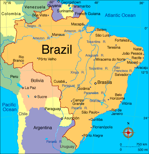Brazil map travel holidays worldmap maps homeschool geog brazil map travel holidays worldmap maps gumiabroncs Choice Image