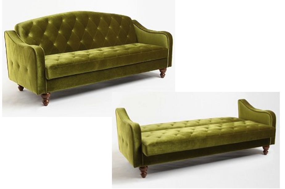 Green Velvet Sofa Bed Tufted Futon Couch Sleeper Convertible Retro Olive Modern Traditional