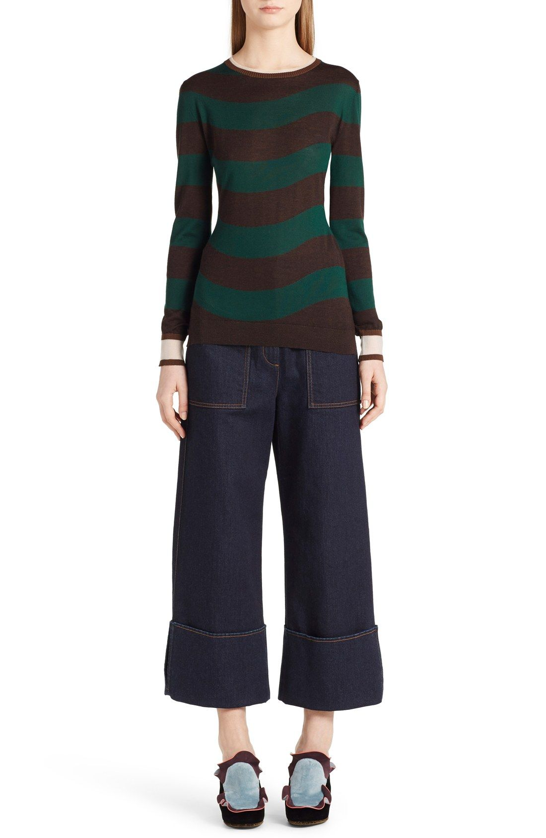 Two-tone stripes subtly ebb and flow on this crewneck cashmere-blend sweater finished with banded rib-knit cuffs for added graphic contrast.27