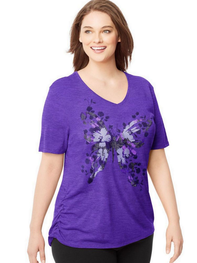 a7ee7e827cd Just My Size JMS Short Sleeve T-Shirt Slub Top Tee Purple w  Side Shirring   JustMySize  GraphicTee