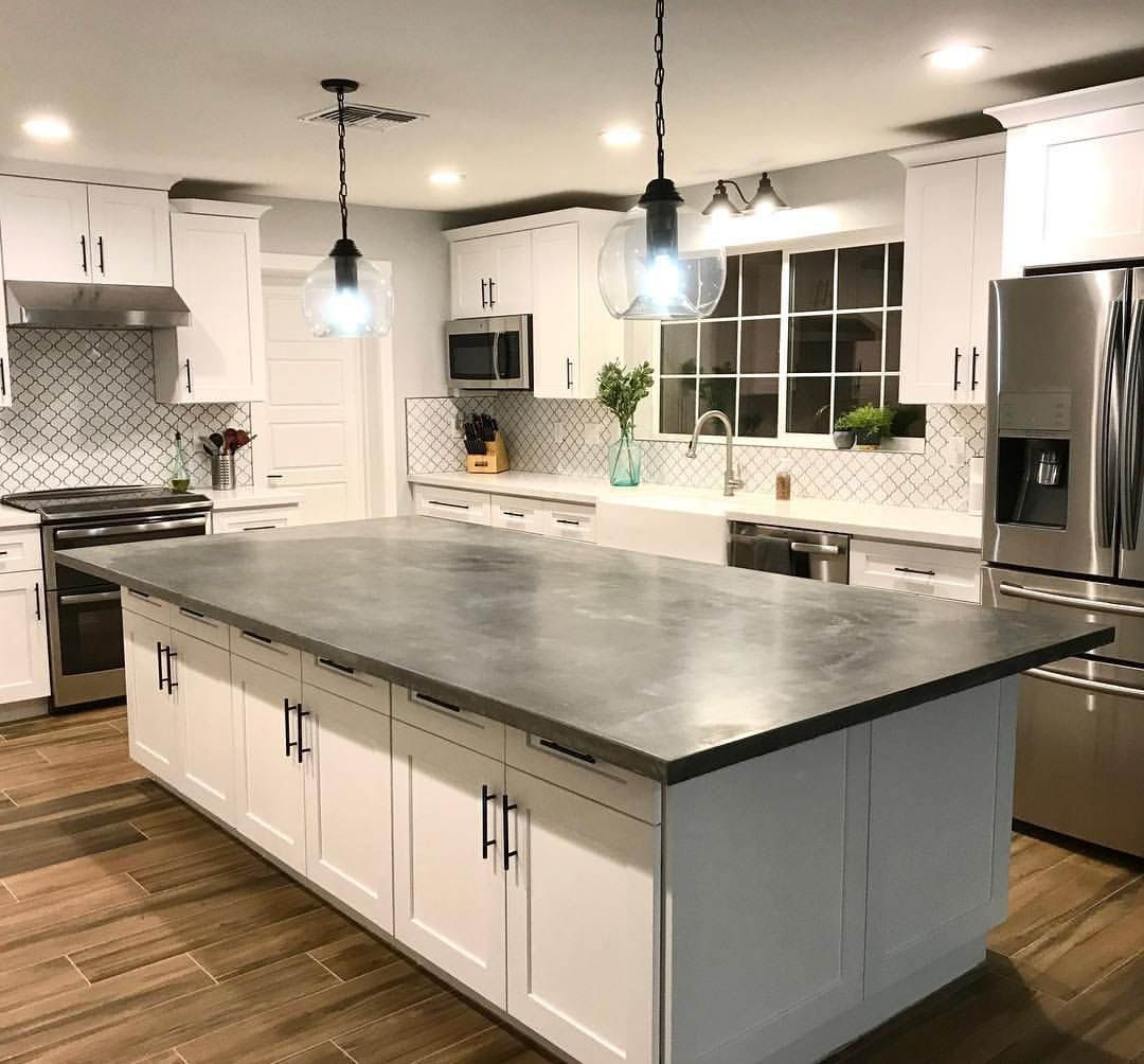 Concrete Countertops Advantages And Disadvantages Concrete Countertops Kitchen Concrete Kitchen Island Contrasting Kitchen Island