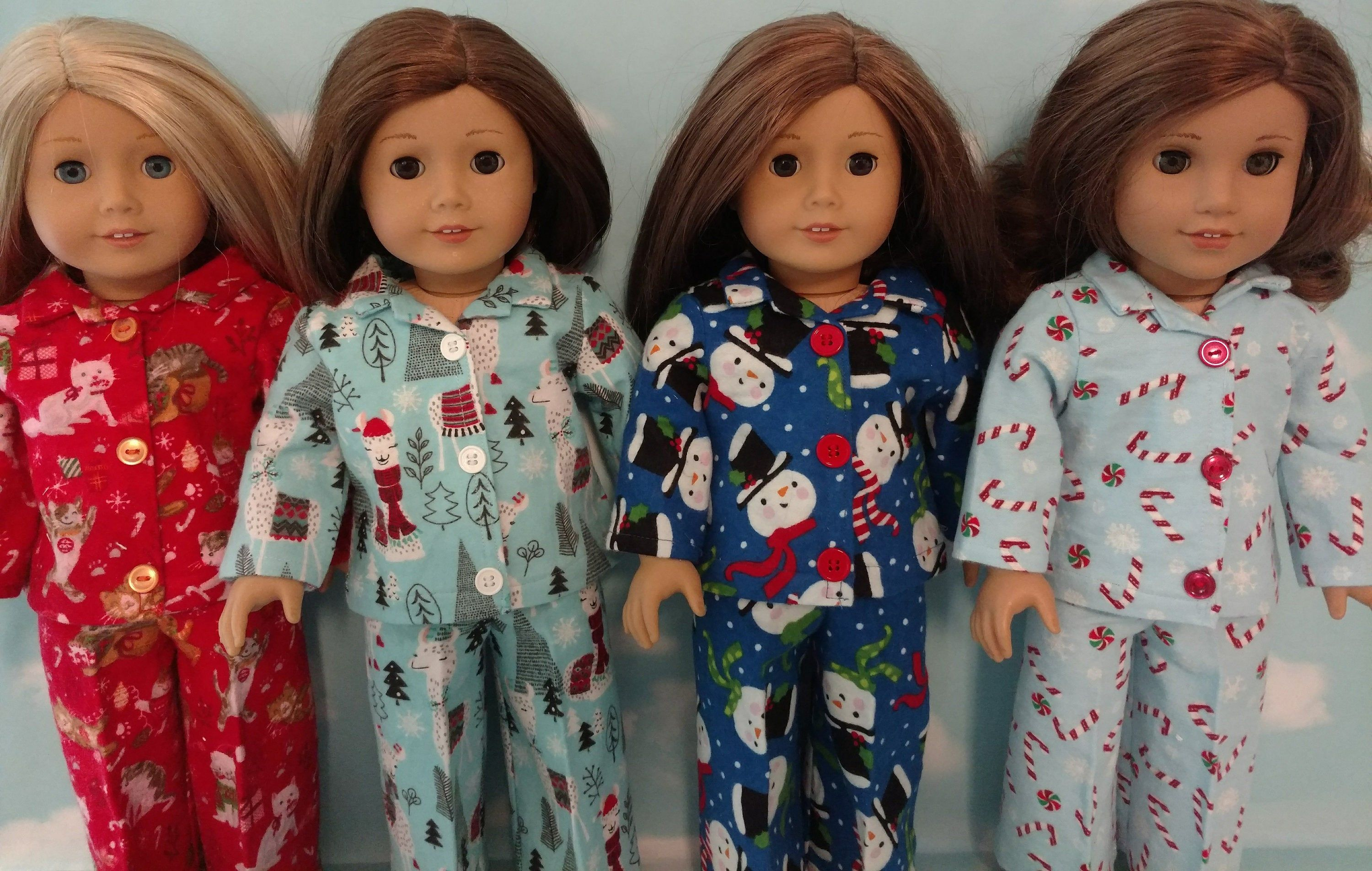 18 inch doll clothes, Christmas Pajamas fits 18 American Girl Dolls 425abcd #18inchdollsandclothes