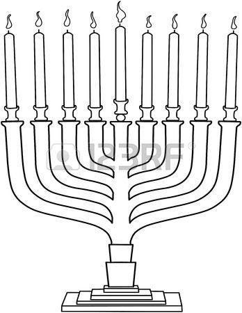 Vector Illustration Coloring Page Of Hanukkiah With Candles For Coloring Pages Vector Illustration Hanukkah