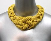 SUMMER SALE Braided Tribal Knotted Necklace Choker Collar Fabric Jewelry Braid Neckpiece Burgundy African Knot Jewellery. $48,00, via Etsy.
