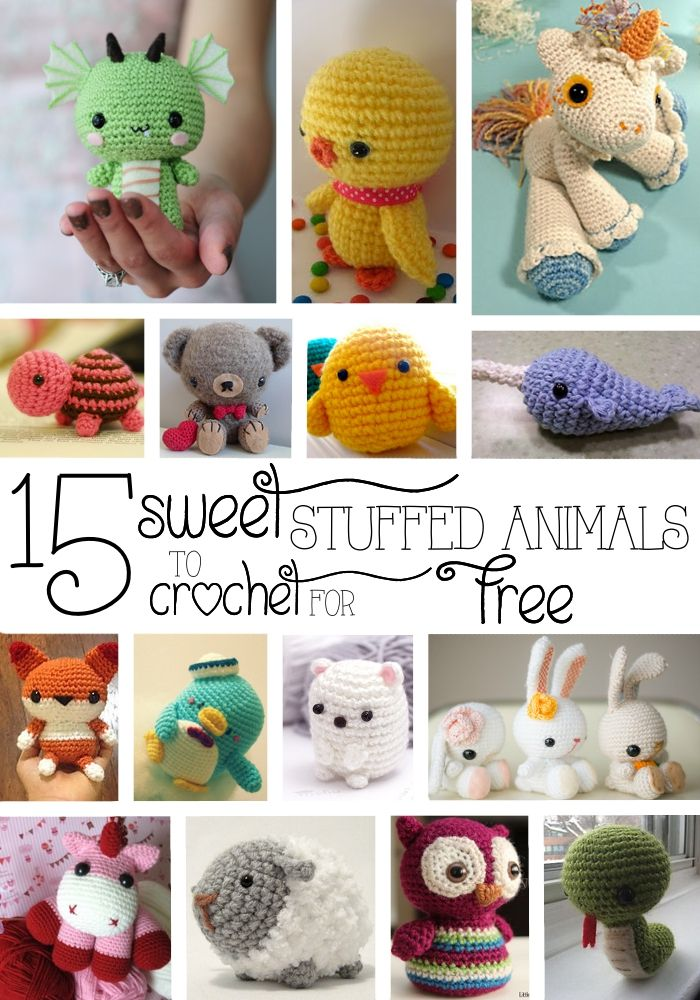 15 Sweet Stuffed Animals to Crochet for Free #crochetanimals